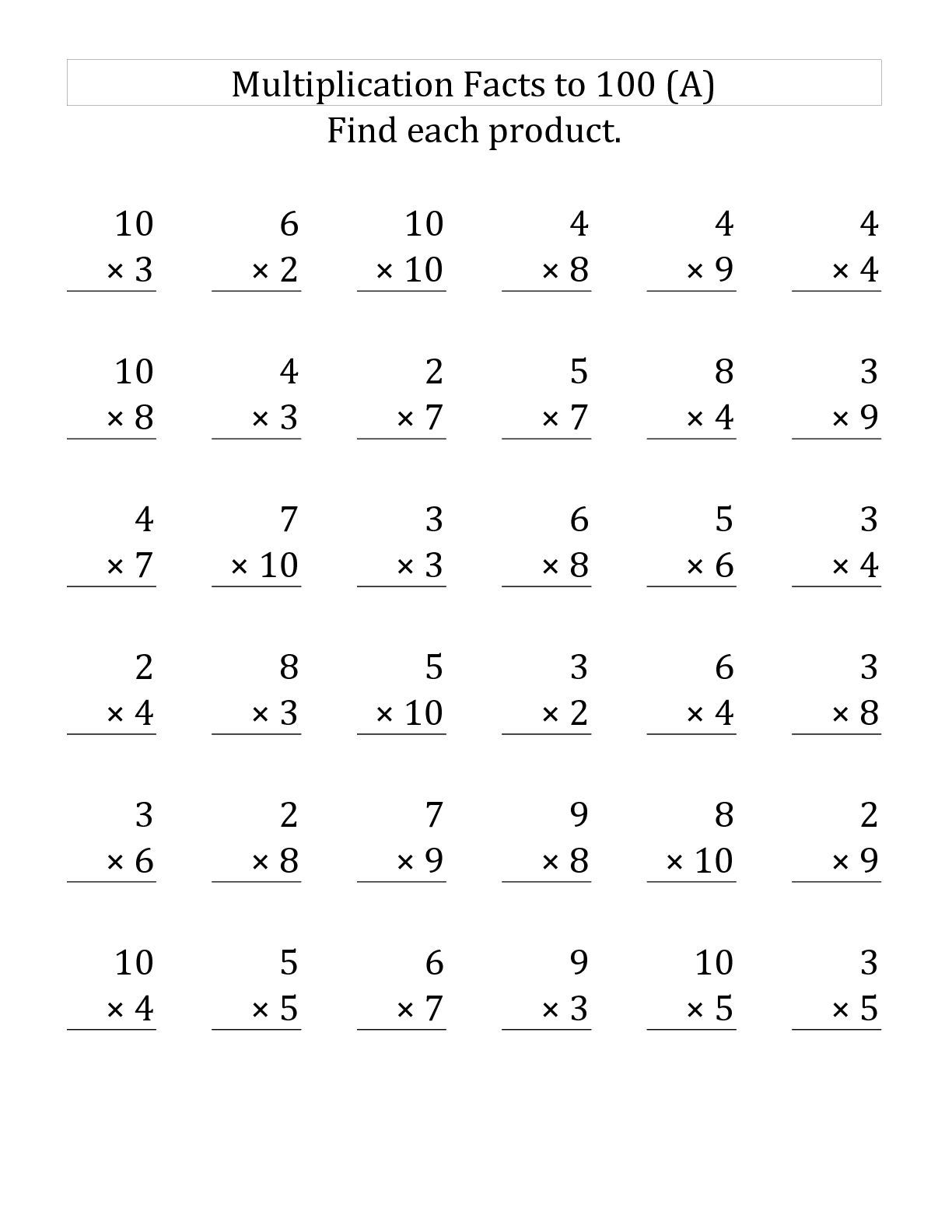 Multiplication 3rd Grade Math Worksheets