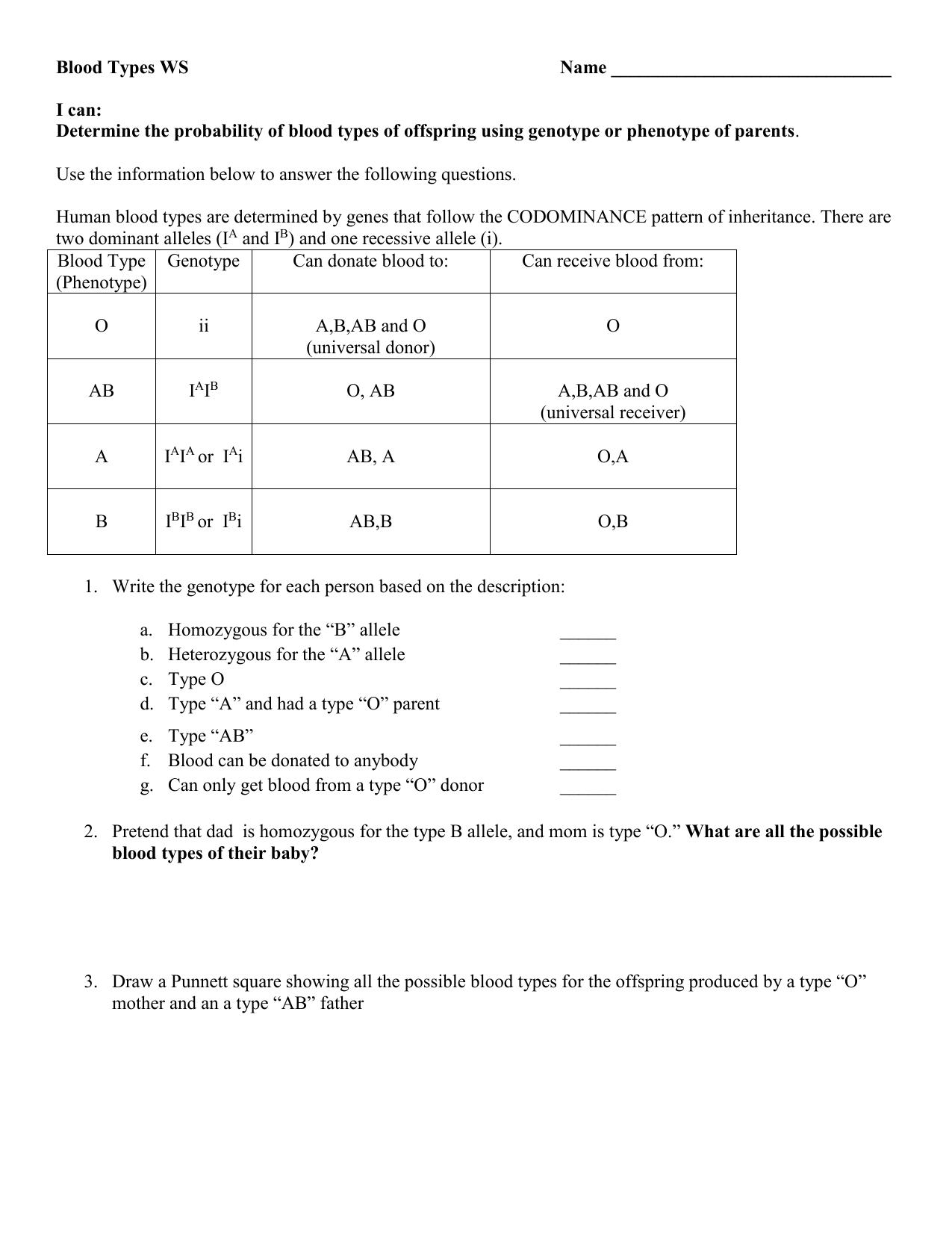 Abo Multiple Allele Worksheet 1 Answers
