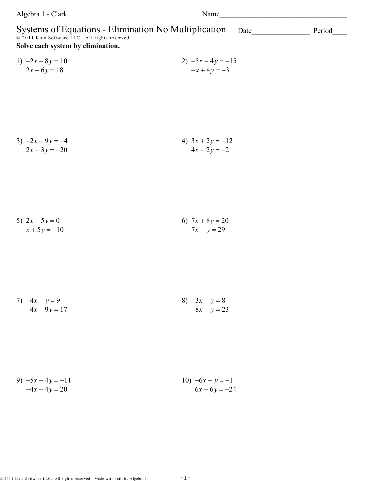 Algebra 1 Elimination Using Multiplication Worksheet
