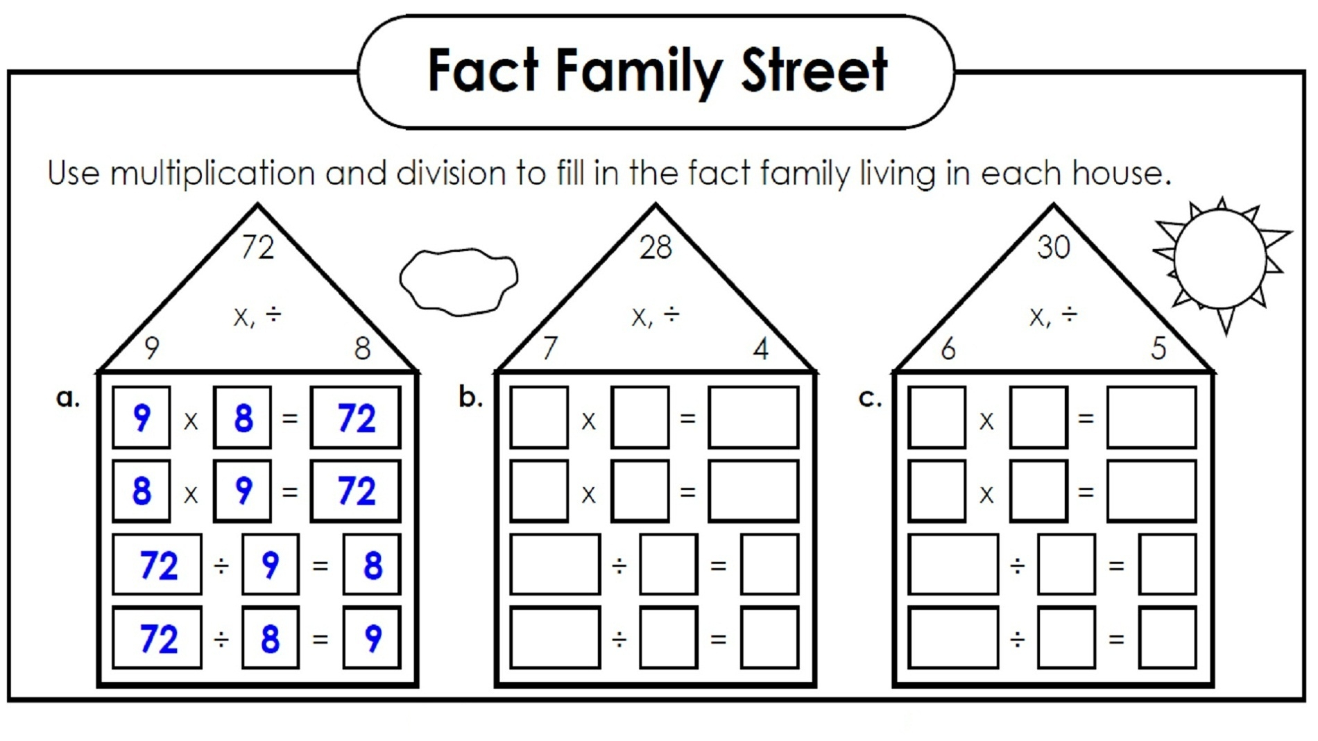 Multiplication And Division Fact Families Worksheets 3rd