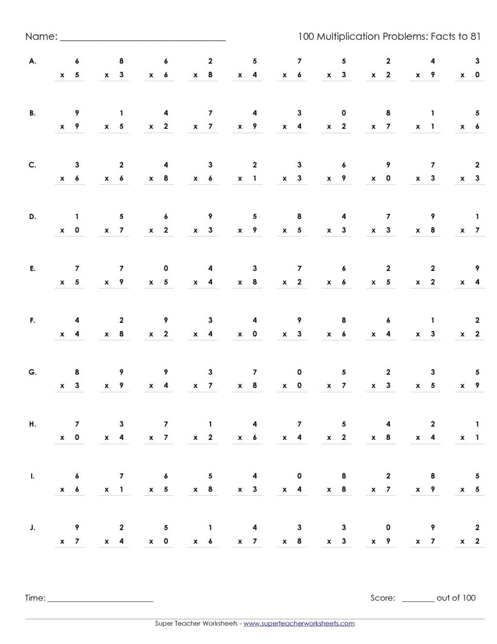 Multiplication Worksheets Grade 3 Timed