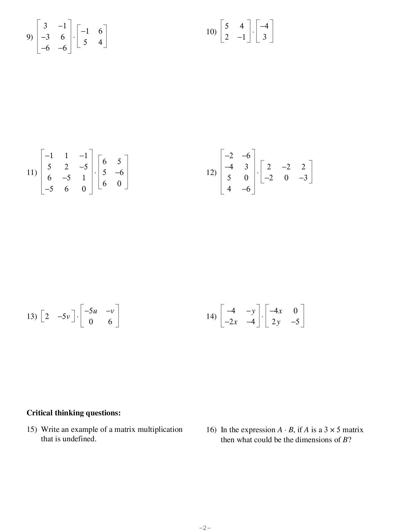 Matrix Multiplication Worksheet