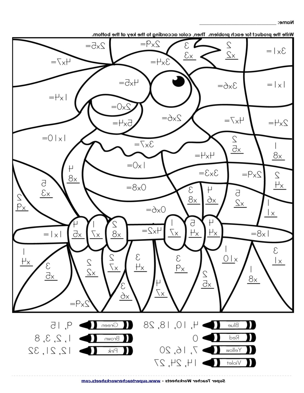 Free Printable Color By Number Multiplication Worksheets