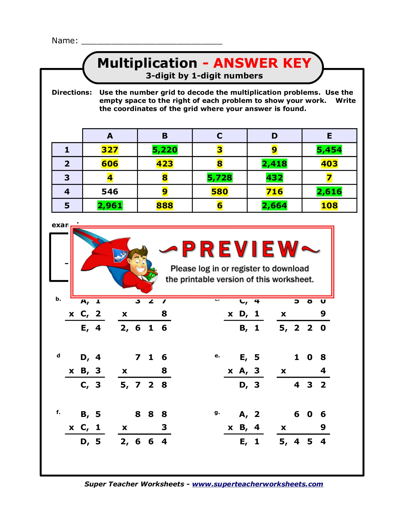 Super Teacher Worksheets Math Puzzle Picture
