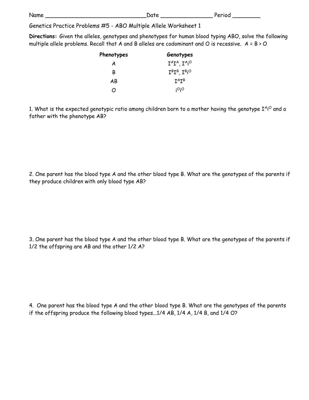 Multiple Alleles Worksheet Answers