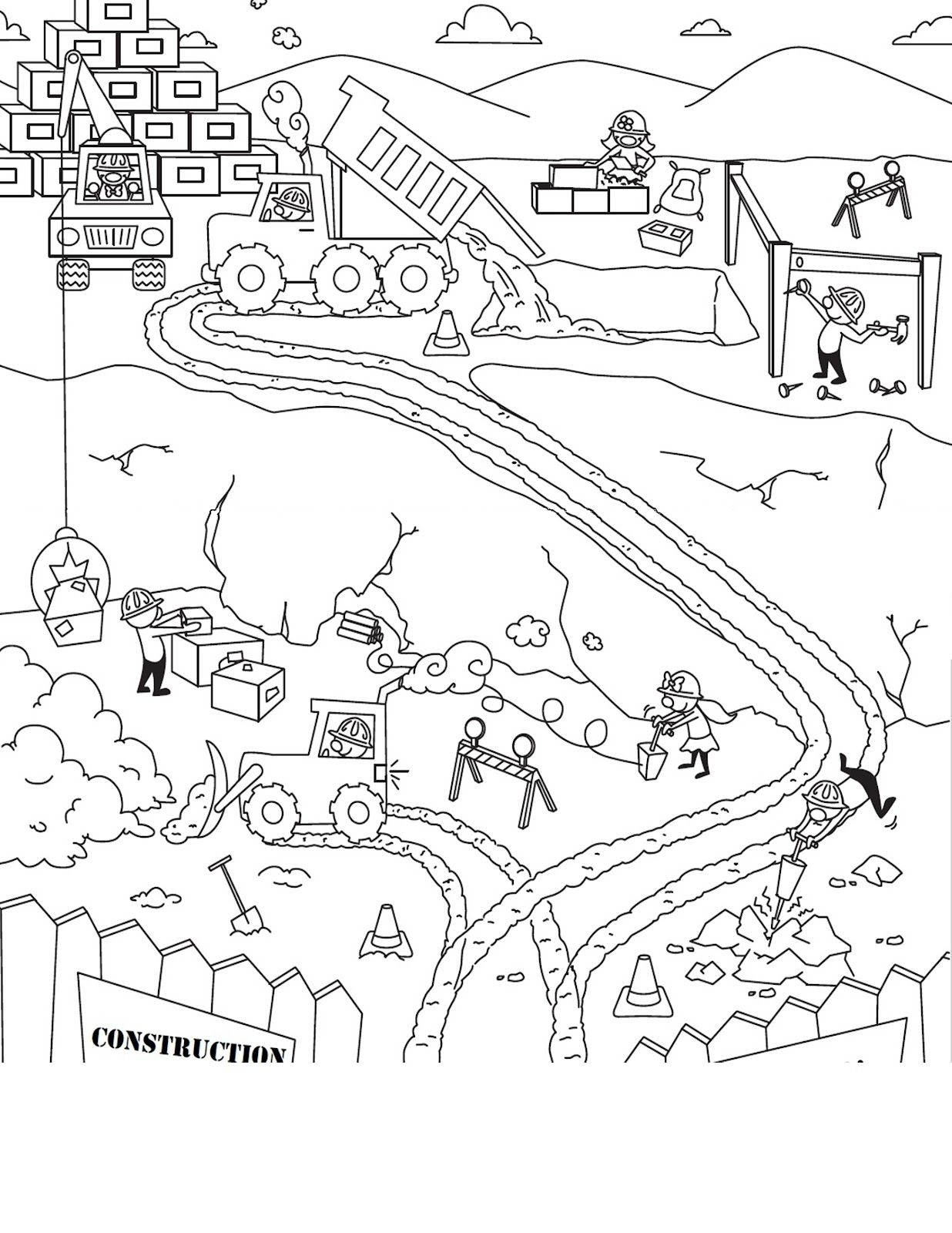 Race Track Coloring Scene Sketch Travel Worksheets For