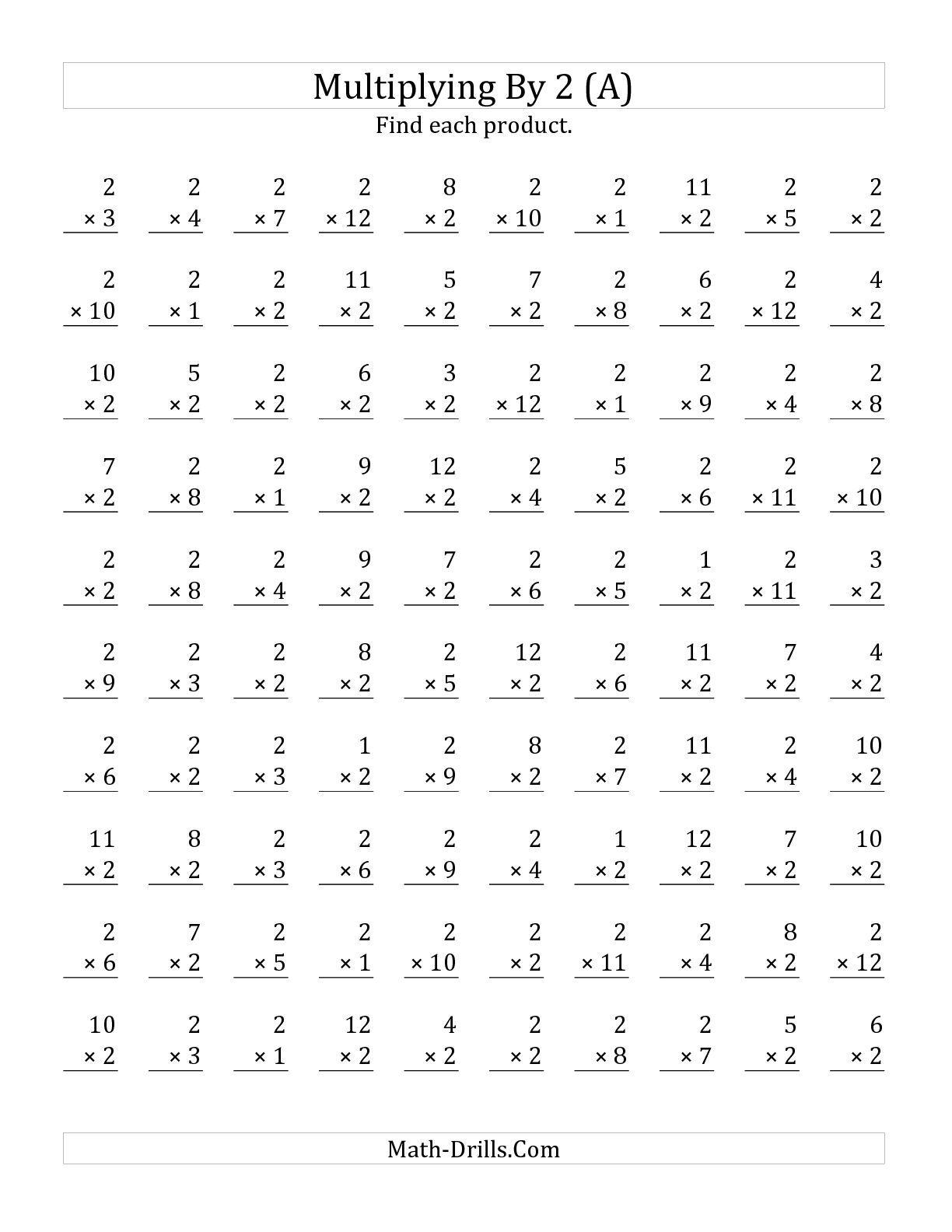 Multiplication Test Worksheet