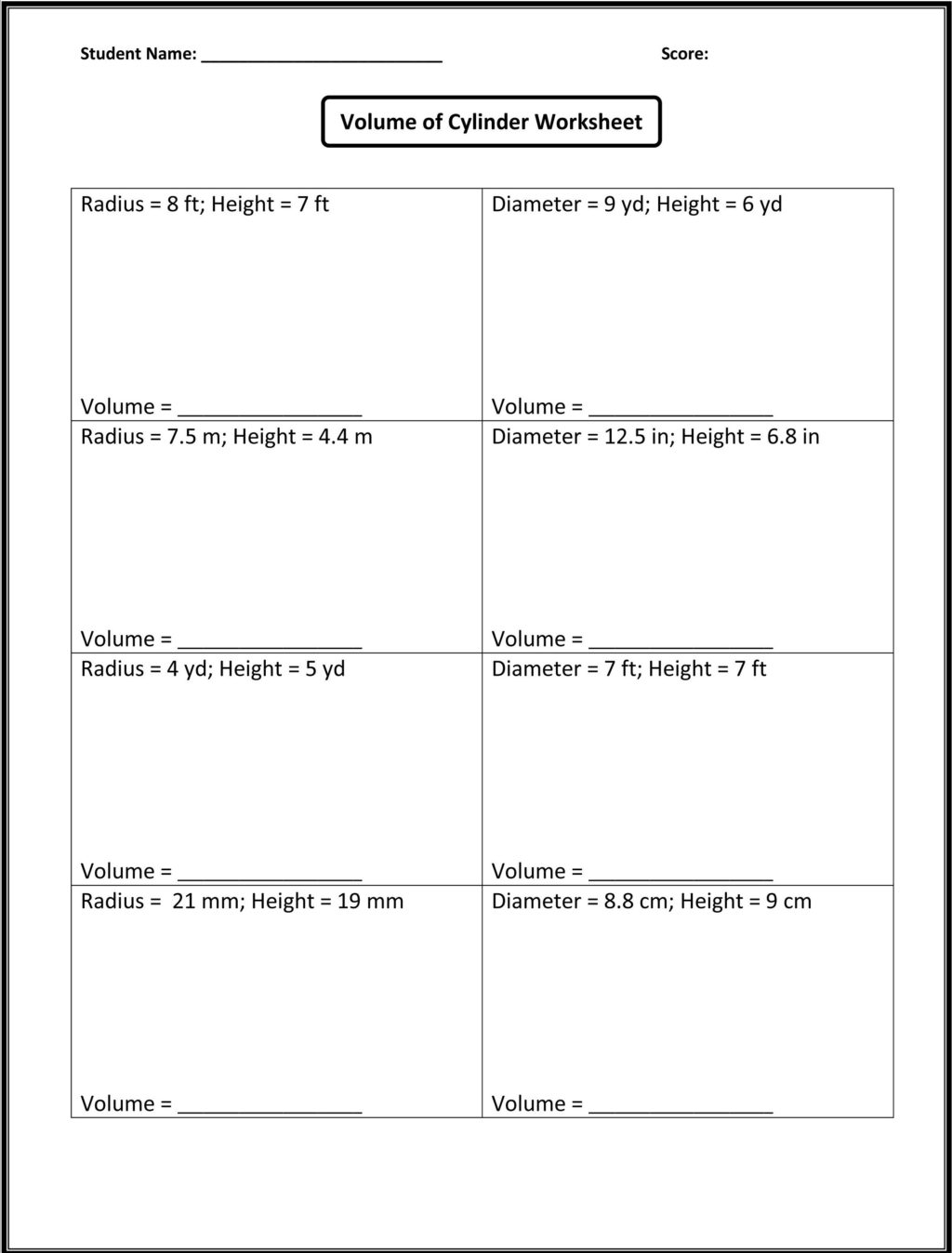 8th Grade Math Multiple Choice Worksheets