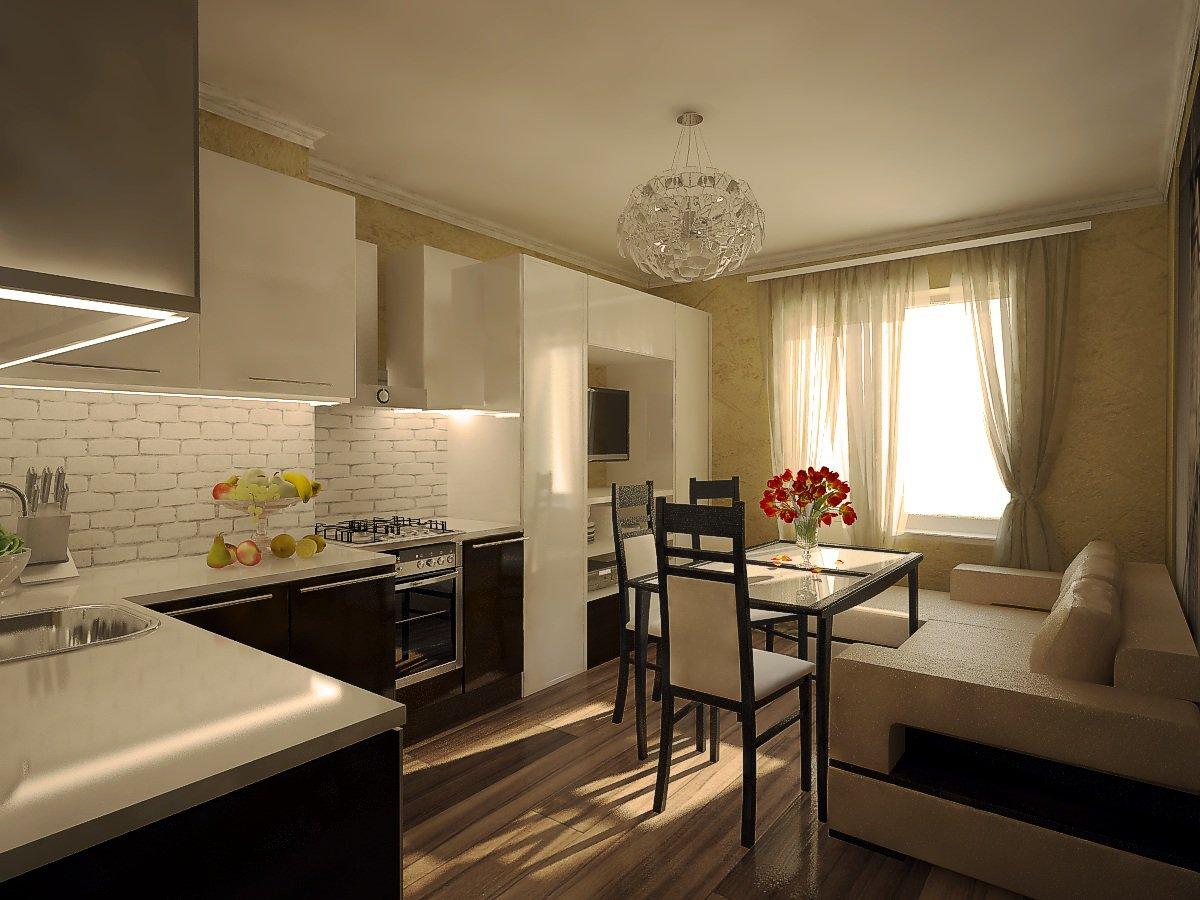 дизайн кухни гостинной 3