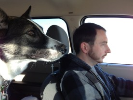 Andrew and our dog, Jeep, as we drove across the country from Kansas to Pennsylvania. The rapt attention on both of their faces makes me laugh every time.