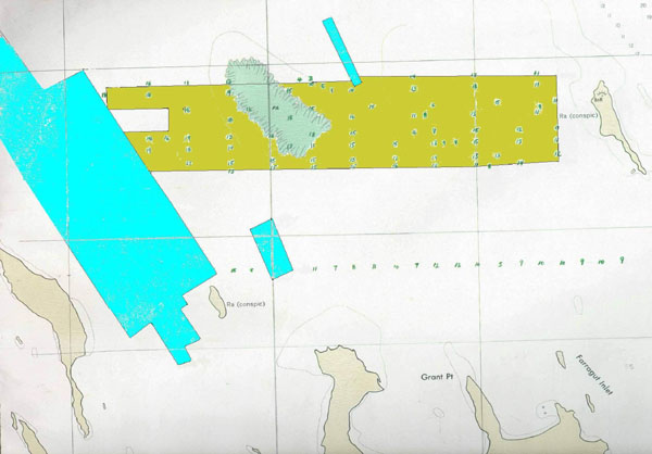 Prior northern surveys for the Franklin wreck - Blue (1997) and Brown (2000)