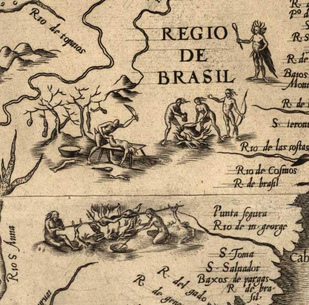 Cannibals, detail of Diego Gutiérrez, Americae sive qvarta e orbis parties nova et exactissima description, 1562