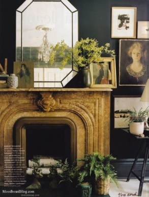 1. Mantelpiece dressed up with frames making it blend well with the rest of the room
