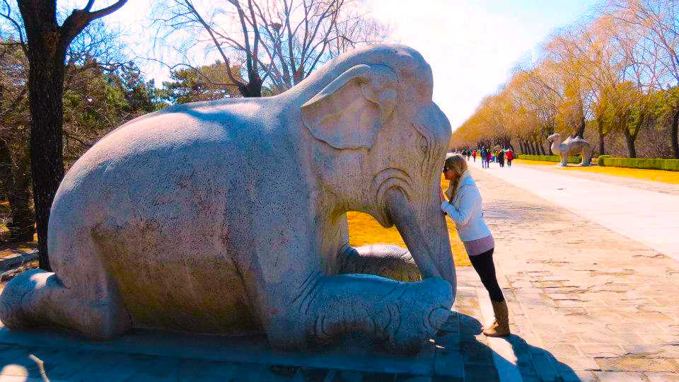 China Spree     time travel blonde Ming Tombs   Head against elephant   Beijing   time travel blonde
