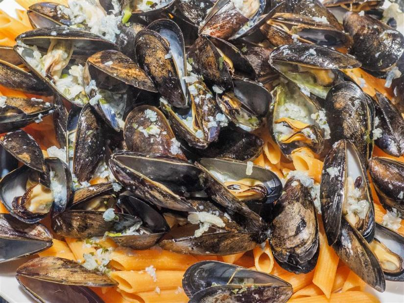 Red lentils penne with mussels