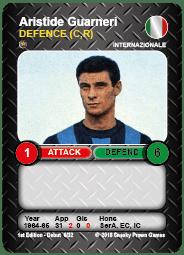 Aristide Guarneri Internazionale Time Vault Soccer Football Card V3.1