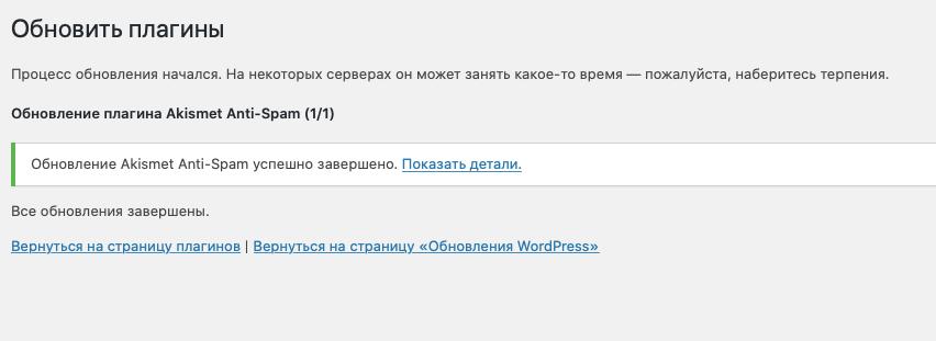 WordPress плагиндерін жаңарту батырмасы