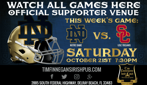 Watch Notre Dame Football at Tim Finnegan's in Delray Beach, FL