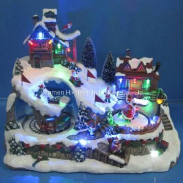 Resin Christmas Decoration 12 Led Village Scene With Train Go By The Tunnel And