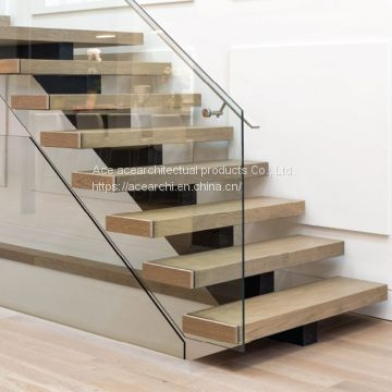 Indoor Carbon Steel Mono Stringer Straight Stair Tread Brackets | Real Wood Stair Treads | Vertical Bamboo Stair | Replacement | Acacia | Self Adhesive | Riser