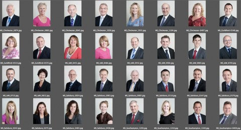 contact sheet of business portraits