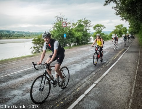 Cyclists on the road into Seaton