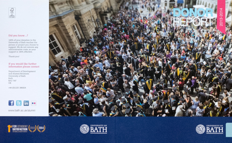 Cover of University of Bath's Donor Report
