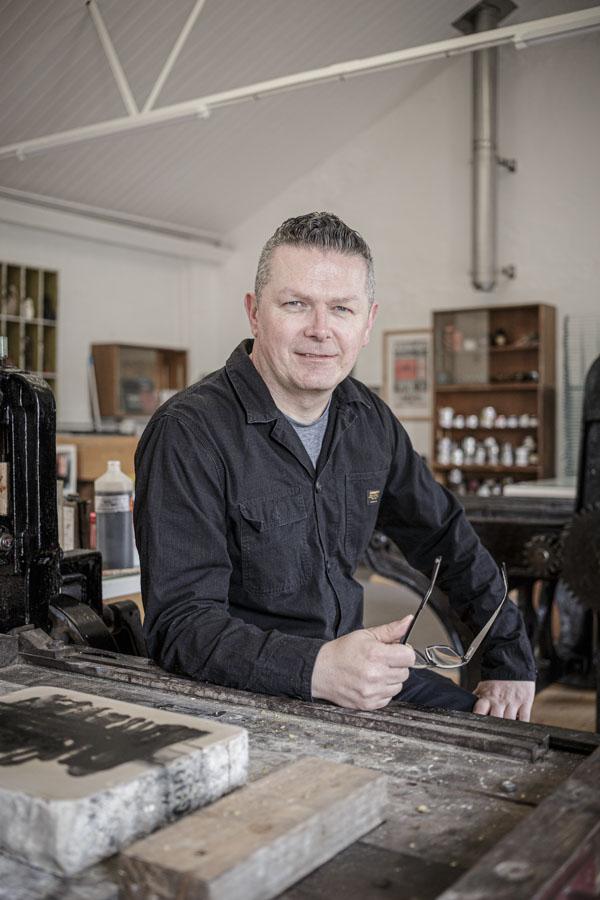 Portrait of artist printer Michael Gill in his studio in Frome.