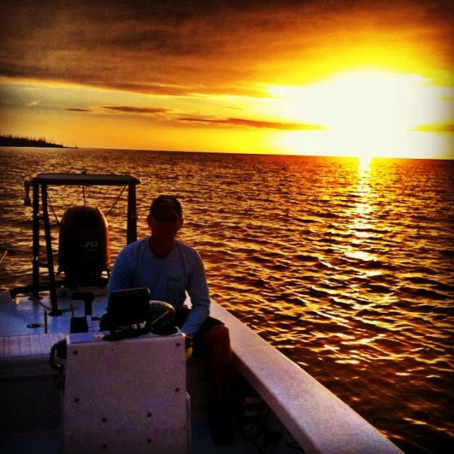Sunset in the Everglades backcountry. Looking for tarpon.