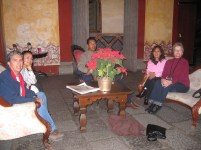 Jose Luis, Claudia, their friends and me in the hotel lobby