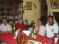 R to L: Jose Luis, Claudia, his late mother, and his brother