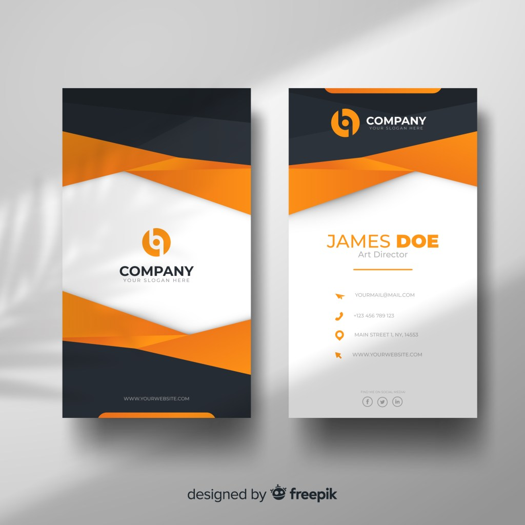 classic orange and black business card