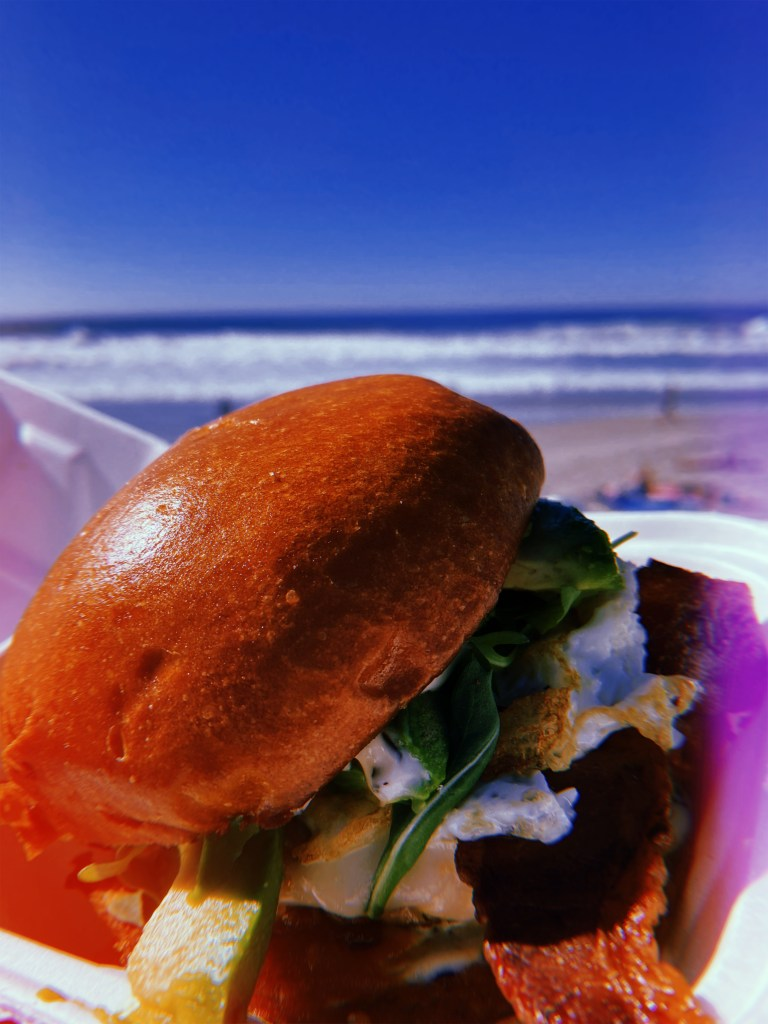 picture of egg sandwich with the ocean behind