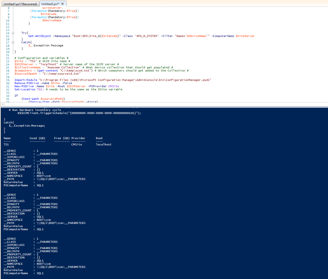 SCCM and Powershell! adding nodes to a collection and trigger