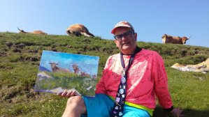 Painting on the cliff tops