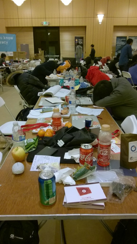 This is what a standard Hackathon table looks like at 4am
