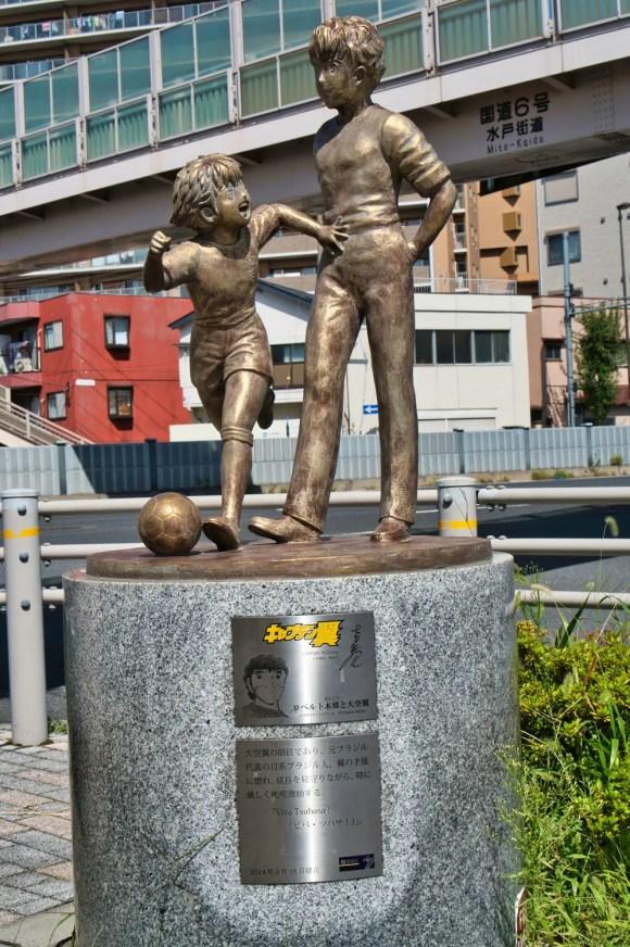 Captain Tsubasa: Roberto und Tsubasa Statue, Bronzeskulptur.