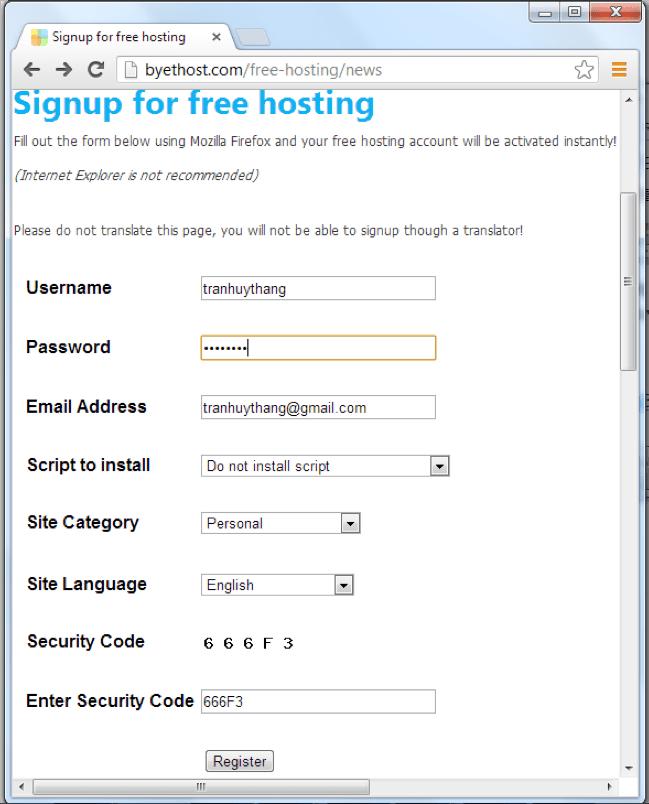 Đăng ký host miễn phí