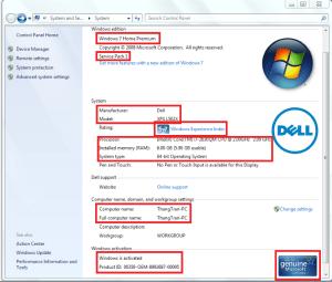 Xem thông tin phần cứng và hệ điều hành