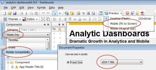 mobile analytic dashboard creation