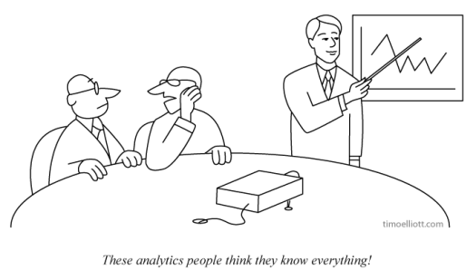 Cartoon: these analytics people think they know everything!