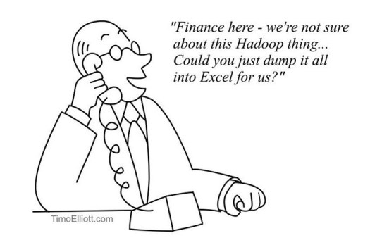 Cartoon: finance here, we're not sure about this hadoop thing -- could you just dump it all into Excel for us?""