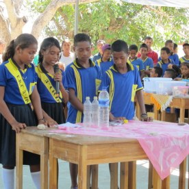 This group's demo had two straws with holes in two mated bottles, one showing water drops up going up, the other showing air bubbles going down. The girl speaking in this photo explained the physics in an astounding rapid fire series of memorized phrases loaded with technical terms. The content of her speech was mostly correct, but I fear lost on most of the crowd.