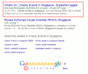 Digital Marketing Consultant Singapore - Portfolio - SEO - Expedition Agape Website Ranked on First Page of Google