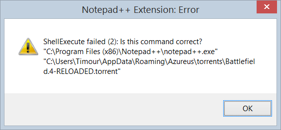 Notepad++ Extension- Error ShellExecute