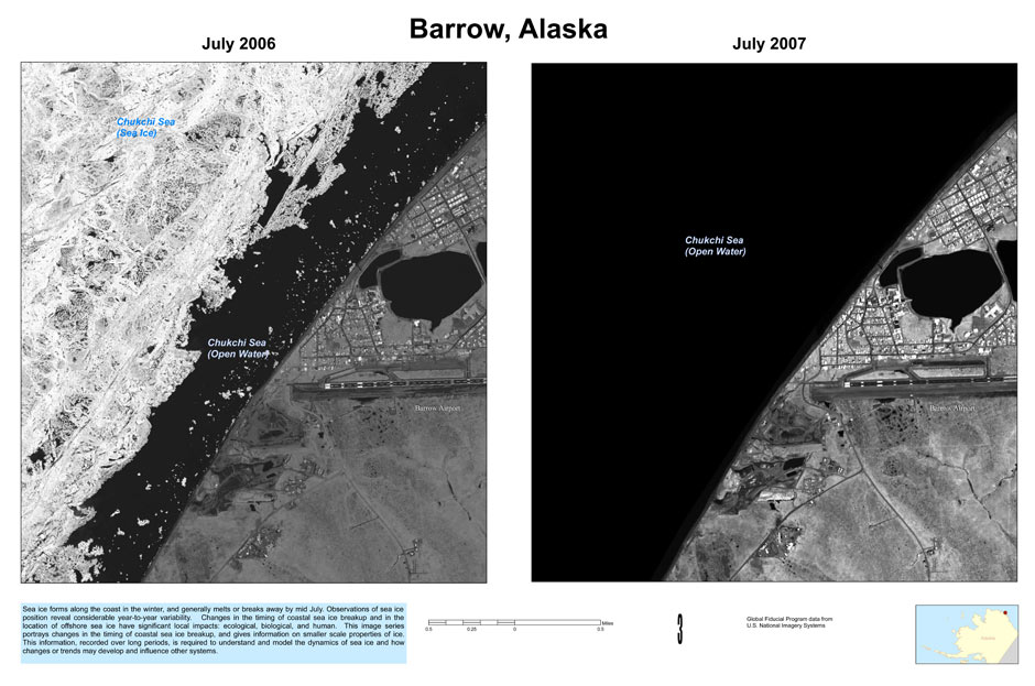 A comparison of polar sea ice at Barrow, Alaska -- July 2006 on the left, July 2007 on the right - public domain photo from U.S. military satellites.