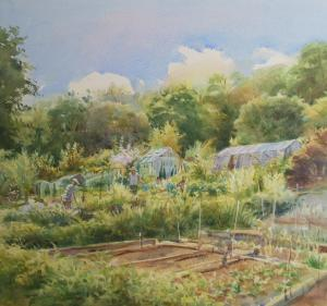 "Hot day on the allotment 20""X16"""