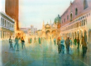 "Impressions of Venice watercolour 23""X17"""
