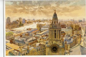 "Westwards from St Pauls watercolour 24""X18"""