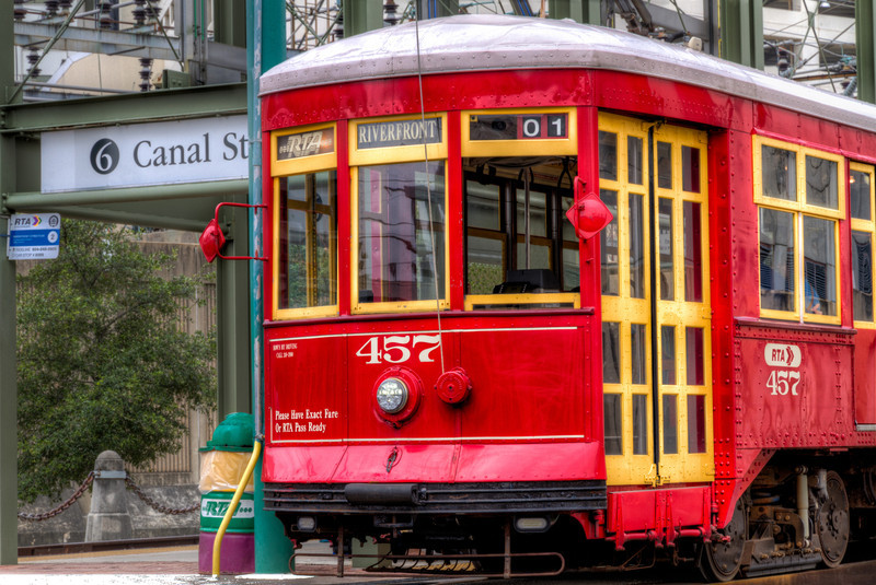 New Orleans has trollies that run down a track by the Mississippi, then turn up Canal Street through the heart of town. I did find #457 waiting for customers as we walked by. Photo by Tim Stanley Photography.
